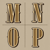 Western alphabet letters vintage vector (m, n, o, p) Stock Images