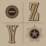 Western alphabet letters vintage vector (y, z) Royalty Free Stock Image