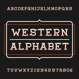Western alphabet vector font. Vintage type letters and numbers. Stock Photos