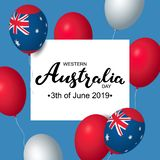 Western Australia Day 3th of June celebration banner template with australian balloons flag decor. Holiday poster template. Vector