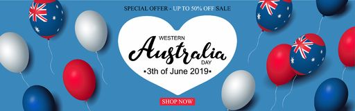 Western Australia Day 3th of June sale celebration banner template australian balloons flag decor. Holiday poster template. Vector. Illustration vector illustration
