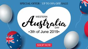 Western Australia Day 3th of June sale celebration banner template australian balloons flag decor. Holiday poster template. Vector