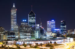 Western Australia - Perth Skyline. At night Stock Photography