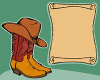 Western background with cowboy boots  Royalty Free Stock Images