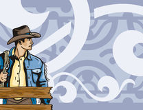Western background series. Vector background with a cowboy Royalty Free Stock Image