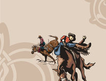 Western background series. Vector background with rodeo cowboys, riding horses Royalty Free Stock Photo
