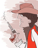 Western bandit in cowboy hat with gun.Vector portr Royalty Free Stock Photos