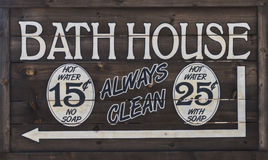 Western Bathhouse Sign Stock Image