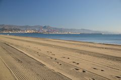 Western beach of Malaga Stock Photography