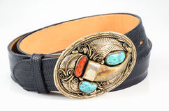 Western Belt with Ornate Buckle. Stock Photography