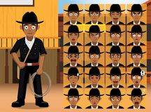 Western Black Cowboy Cartoon Character Emotions Stock Photo