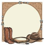 Cowboy horse equine riding tack tool in the western leather belt frame. Stock Image