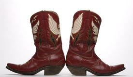Western Boots. Vintage western boots from the 1950's. Made in Mexico with classic butterfly and eagle pattern uppers Stock Photo