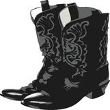 Western Boots 2. Cowboy boots drawing isolated over white Royalty Free Stock Image
