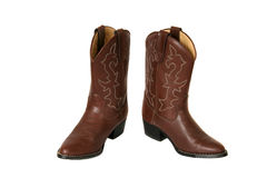 Western boots with cowboy hat. Brown leather western boots with pattern stock photo