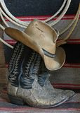 Western Boots and Hat. Western Boots, hat, lariet and horse blanket Royalty Free Stock Image