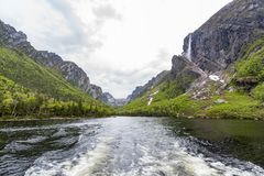 Western Brook Pond Gros Morne National Park, Newfoundland. Located just outside of Rocky Harbour, Newfoundland, Gros Morne National Park provides spectacular Royalty Free Stock Photography