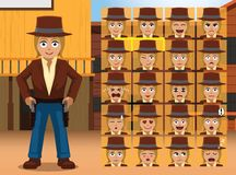 Western Brown Cowgirl Cartoon Character Emotions Stock Photos