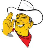 Western cartoon charismatic Texas Cowboy ranger in hat with scar. F. Vector Stock Photography