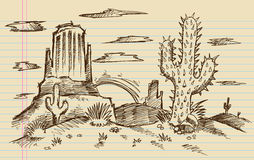 Western Cartoon Landscape Sketch Stock Image