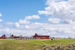 Western cattle ranch with barn stock images