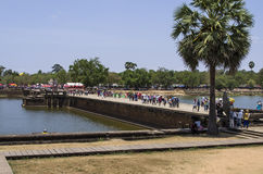 Western Causeway of Angkor Wat. Angkor, Siem Reap, Cambodia - April 14, 2013 : The outer causeway leading to the western entrance of Angkor Wat Stock Photo
