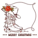 Western Christmas greeting card with cowboy traditional boots an. D lasso frame for text isolated on white stock illustration