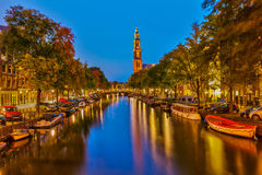 Western church in Amsterdam. Western church on Prinsengracht canal in Amsterdam Stock Photo