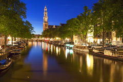 Western church on Prinsengracht canal in Amsterdam Royalty Free Stock Image