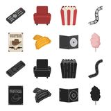 Western cinema, tickets, sweet cotton wool, film on DVD.Filmy and cinema set collection icons in black,cartoon style. Vector symbol stock illustration Royalty Free Stock Photography