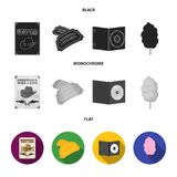 Western cinema, tickets, sweet cotton wool, film on DVD.Filmy and cinema set collection icons in black, flat, monochrome. Style vector symbol stock illustration Royalty Free Stock Image