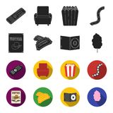 Western cinema, tickets, sweet cotton wool, film on DVD.Filmy and cinema set collection icons in black,flet style vector. Symbol stock illustration Royalty Free Stock Image