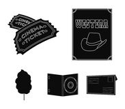 Western cinema, tickets, sweet cotton wool, film on DVD.Filmy and cinema set collection icons in black style vector. Symbol stock illustration Royalty Free Stock Images