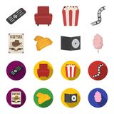 Western cinema, tickets, sweet cotton wool, film on DVD.Filmy and cinema set collection icons in cartoon,flat style. Vector symbol stock illustration Stock Photos