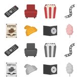 Western cinema, tickets, sweet cotton wool, film on DVD.Filmy and cinema set collection icons in cartoon,monochrome. Style vector symbol stock illustration Royalty Free Stock Images