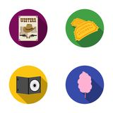 Western cinema, tickets, sweet cotton wool, film on DVD.Filmy and cinema set collection icons in flat style vector. Symbol stock illustration Royalty Free Stock Photo