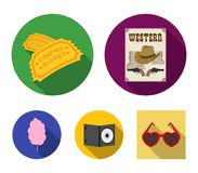 Western cinema, tickets, sweet cotton wool, film on DVD.Filmy and cinema set collection icons in flat style vector. Symbol stock illustration Stock Photo