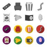 Western cinema, tickets, sweet cotton wool, film on DVD.Filmy and cinema set collection icons in monochrome,flat style. Vector symbol stock illustration Royalty Free Stock Images