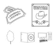 Western cinema, tickets, sweet cotton wool, film on DVD.Filmy and cinema set collection icons in outline style vector. Symbol stock illustration Royalty Free Stock Photos