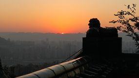 The western city,Sunset, lion, mountain city sunset in Chongqing, China. Sunset, lion, mountain city sunset in Chongqing, China stock photos