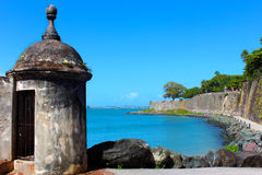 Western City Wall, Old San Juan. Puerto Rico.  From Old San Juan Door, looking towards Saint Agustín Bastion Stock Photo