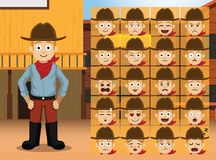 Western Costume Boy Cartoon Character Emotions Royalty Free Stock Photos