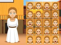 Western Costume Girl Cartoon Character Emotions Royalty Free Stock Images