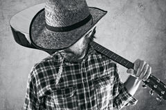 Western country cowboy musician with guitar Royalty Free Stock Photos