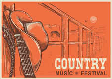 Western country music poster with cowboy hat and music guitar. Vector hand draw background for text Royalty Free Stock Photography