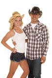 Western couple both with hats Royalty Free Stock Photos