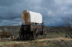 Western covered chuckwagon for cooking food on the trail Royalty Free Stock Photos
