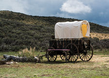 Western covered chuckwagon for cooking food on the trail Stock Photography