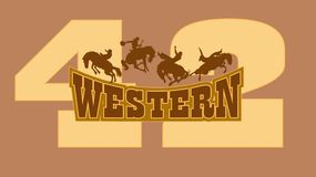 Western cowboy. At four and 42 digits on the cowboy graphic design Royalty Free Stock Photos