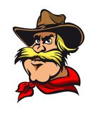 Western cowboy. Head in heat isolated on white background. Vector illustration Royalty Free Stock Photography